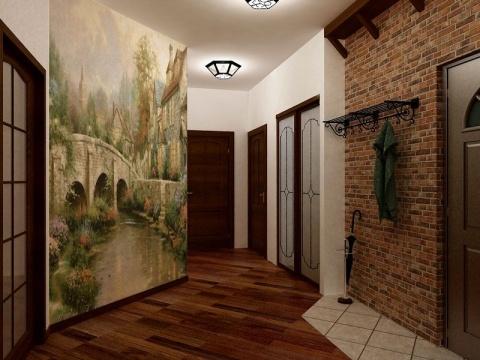 искусственный камень в коридоре